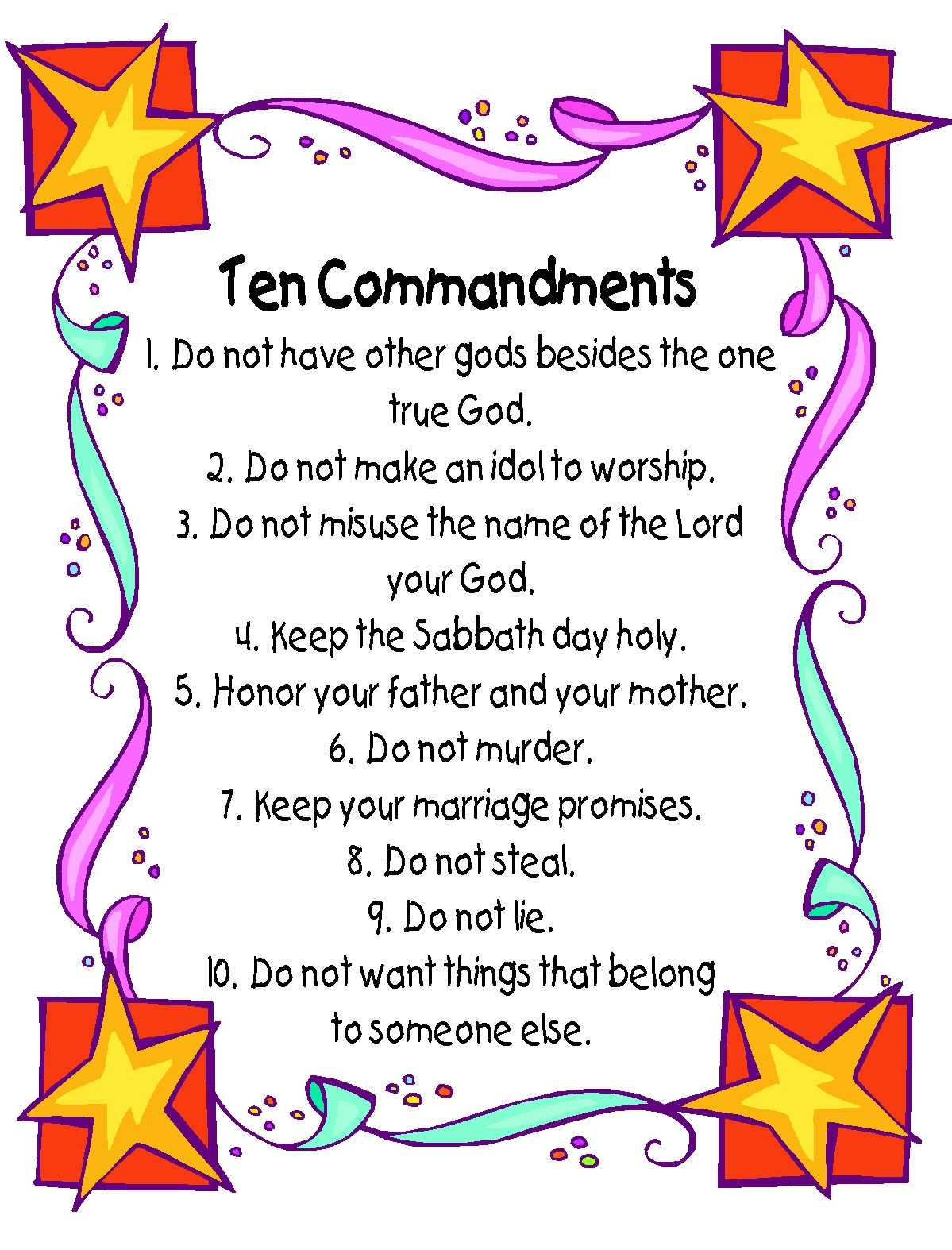 It's just a graphic of Dynamic 10 Commandments for Kids Printable