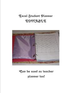 excel student planner cover
