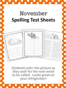 November Spelling Test Sheets – Kathy Hutto